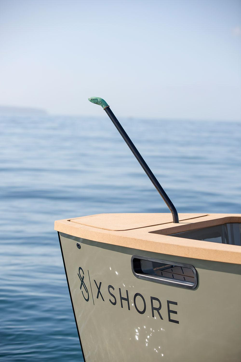 X Shore electric boat prow