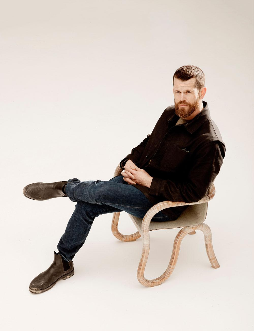 Matthew Day Jackson with 'Kolho' chair prototype
