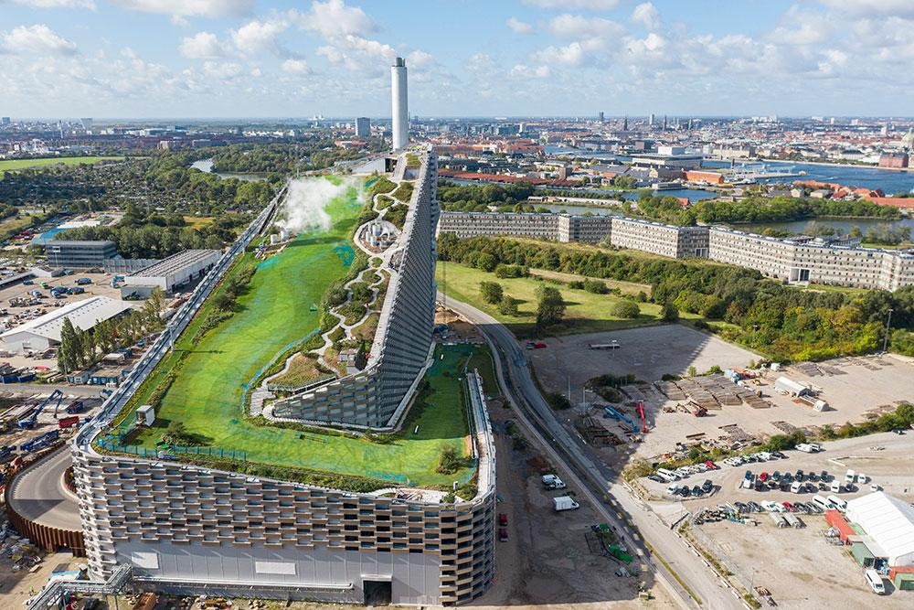 Aerial view of Copenhill Amager Resource Center by Bjarke Ignels Group