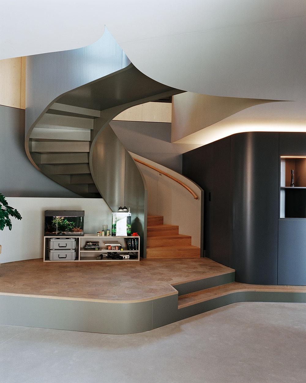 Spiral staircase by Baier Bischofberger Architects