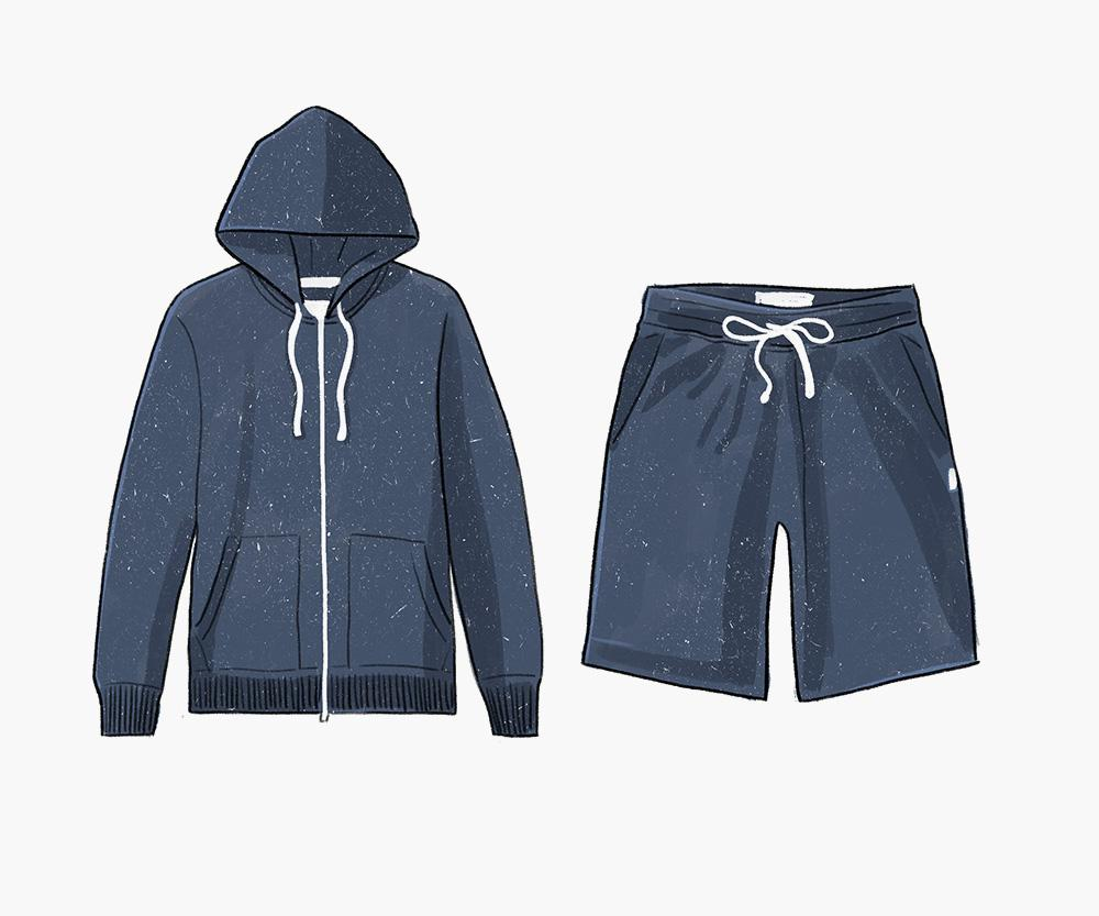 Jacket and shorts by Reigning Champ