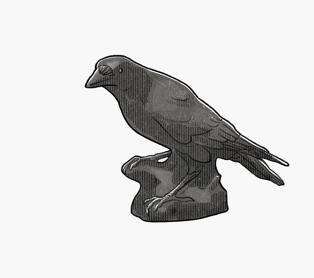 Manufaktur Nymphenburg porcelain raven