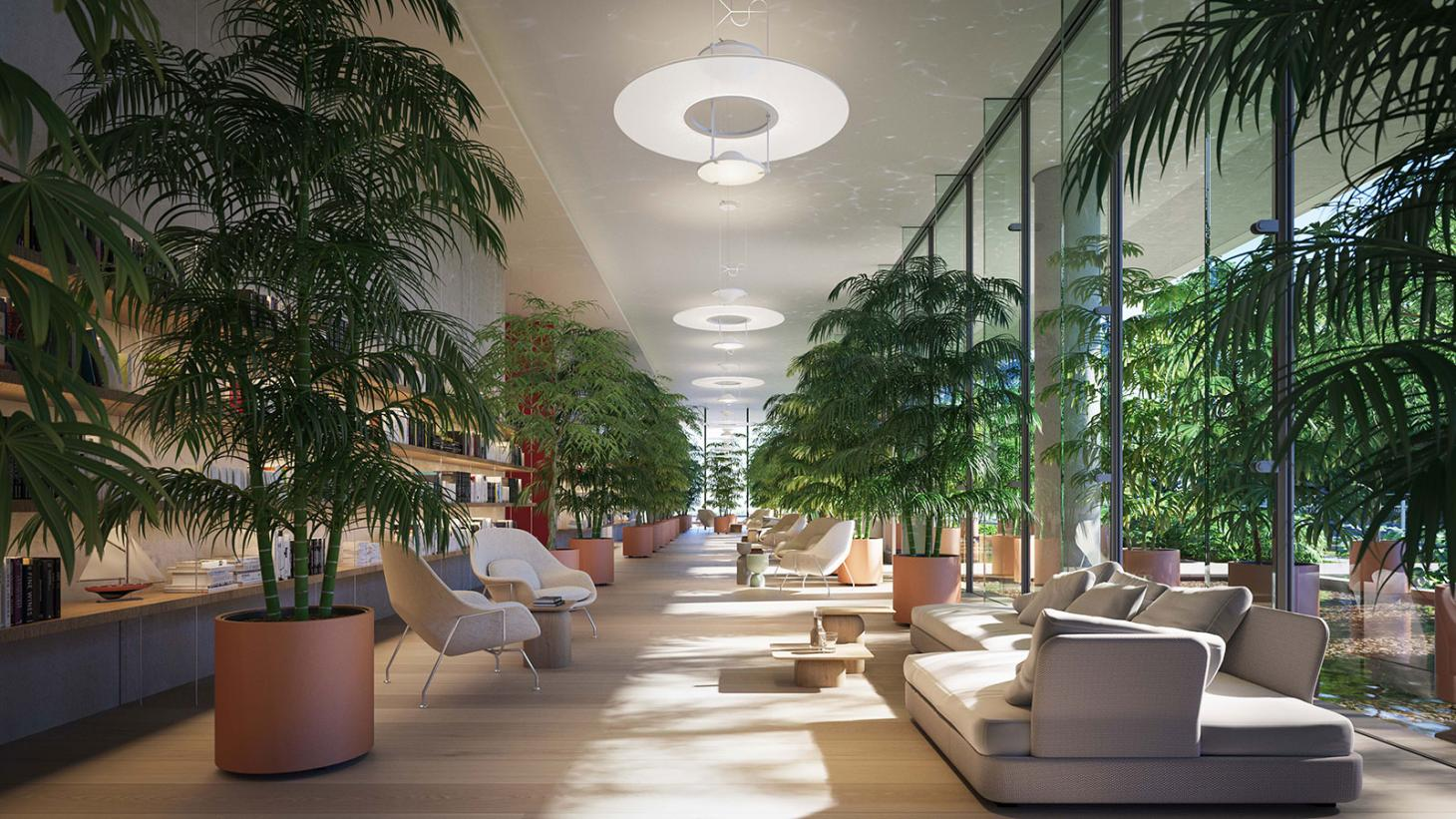 Plant-filled library in the lobby of Eighty Seven Park, Miami, by Renzo Piano