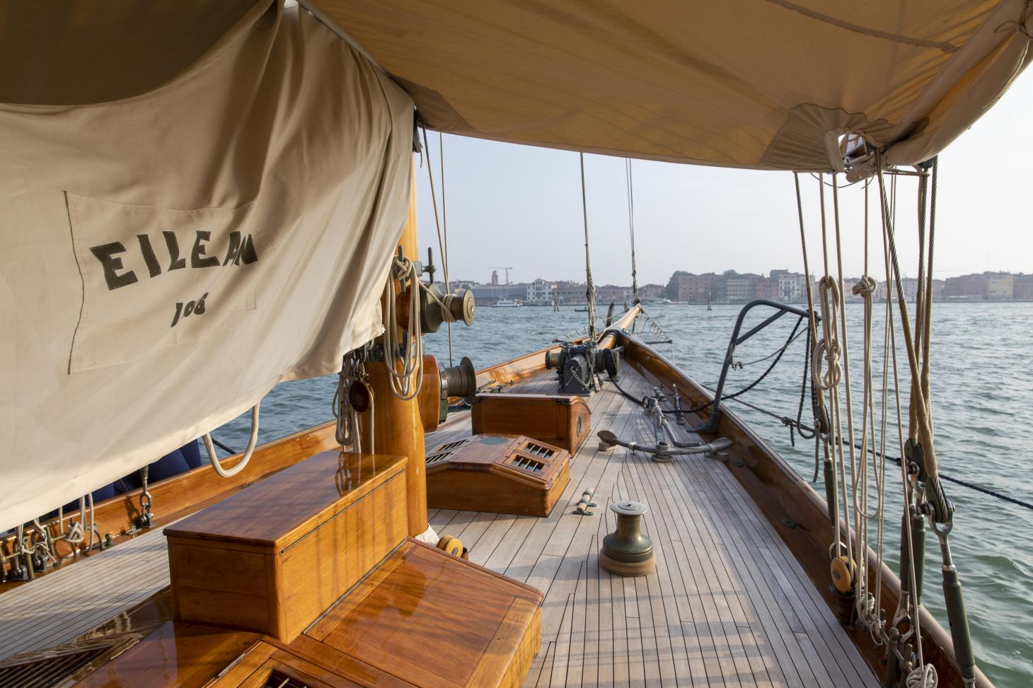 On the deck of 1936 sailing ketch Eilean yacht