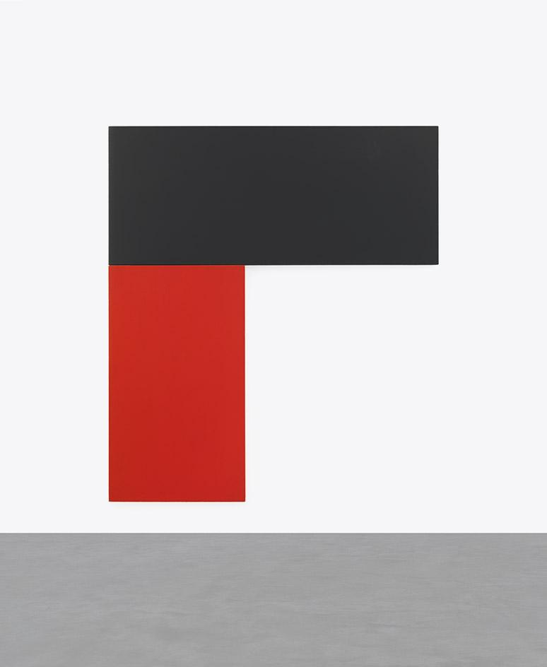 Black Red, 1971, by Ellsworth Kelly, oil on canvas, two joined panels