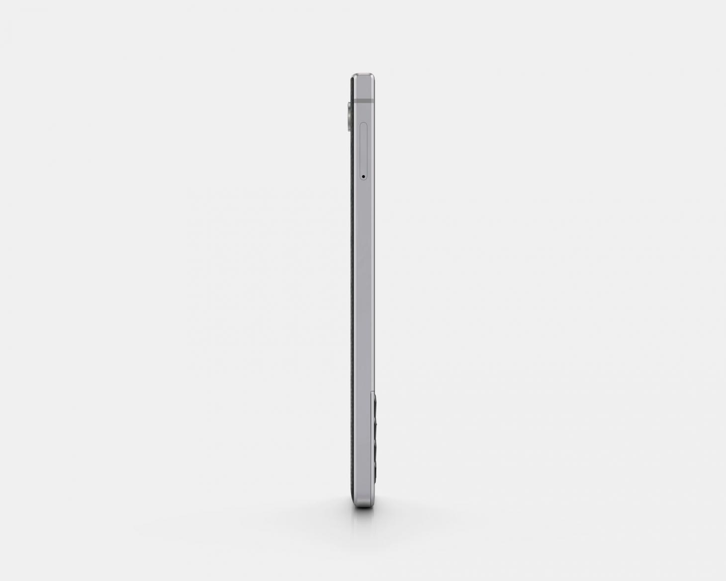 BlackBerry KEY2 smartphone, silver front view