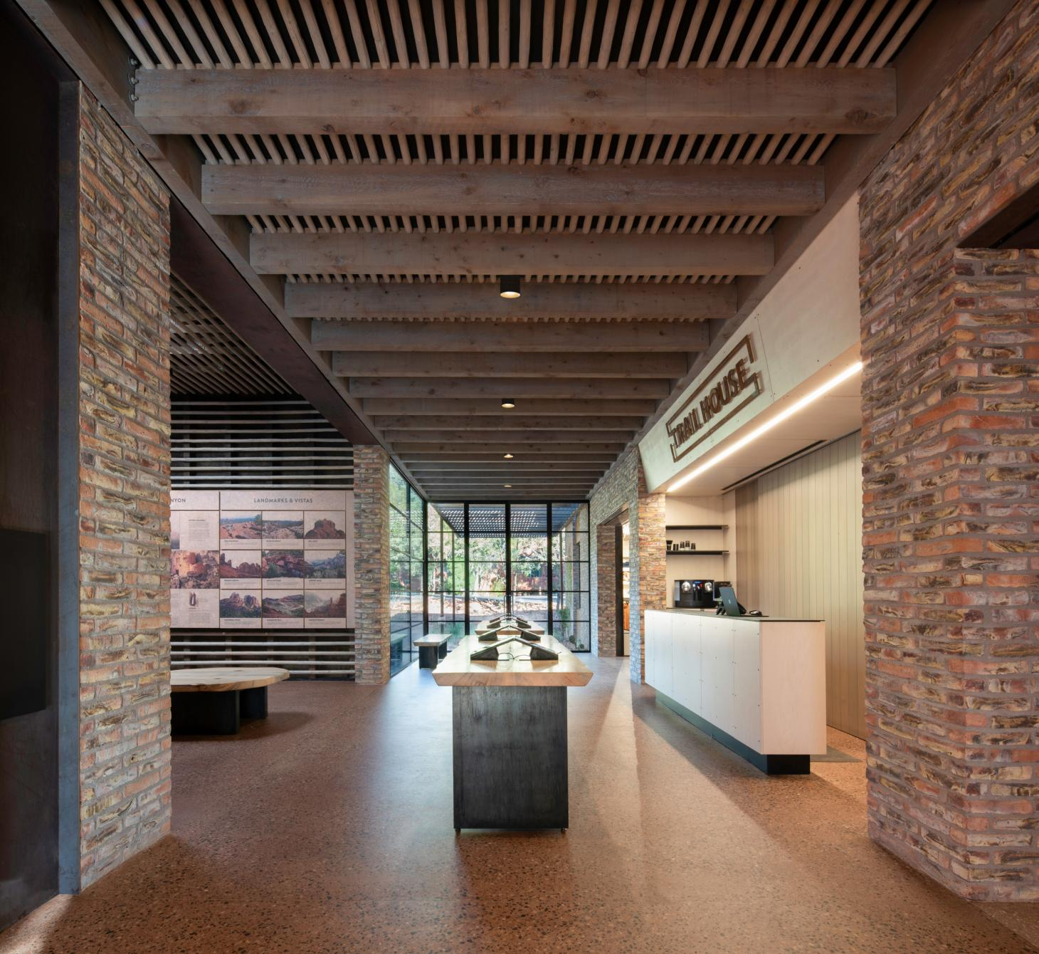 Interior of store at the Trail House by Gluckman Tang