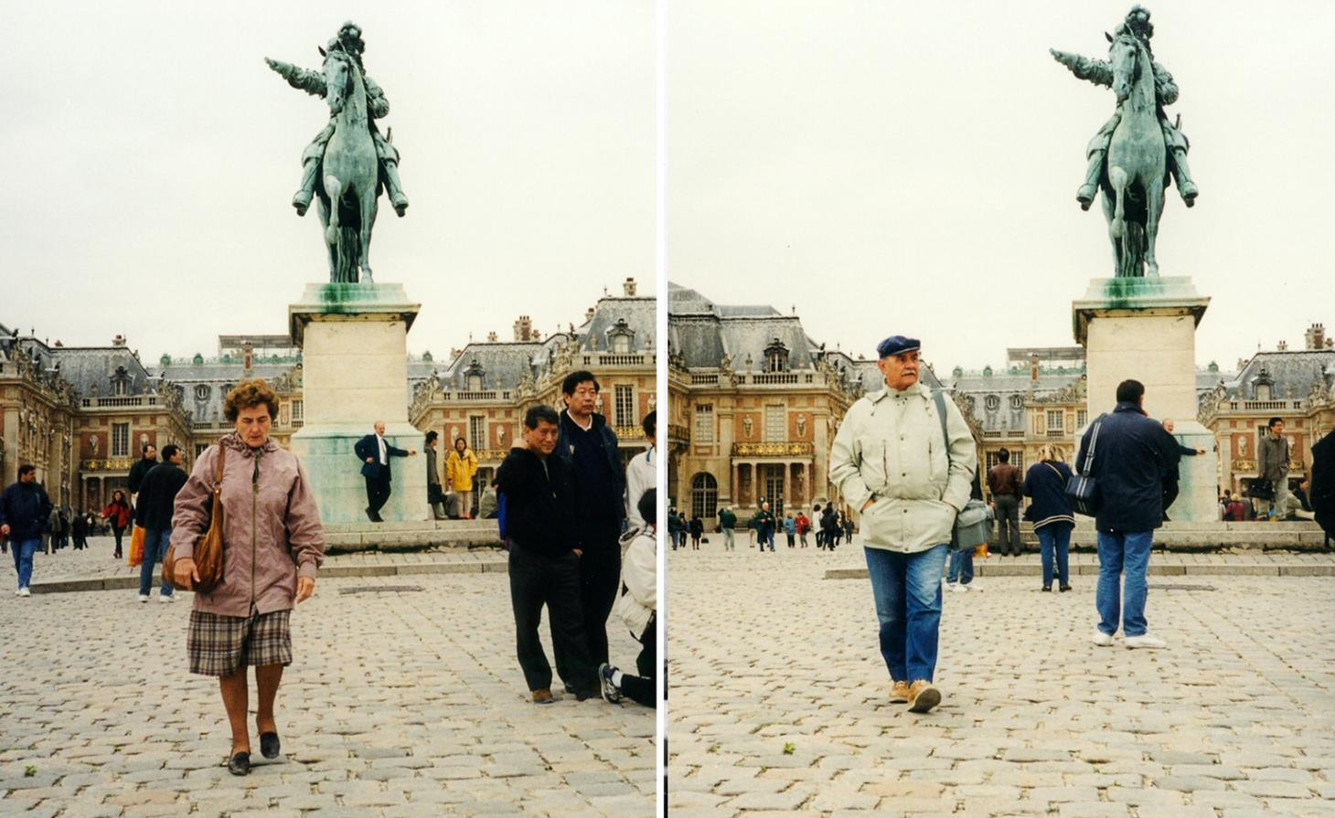A man and a woman pictured separately in front of a plinth with a horse statue on in a book by Erik Kessels