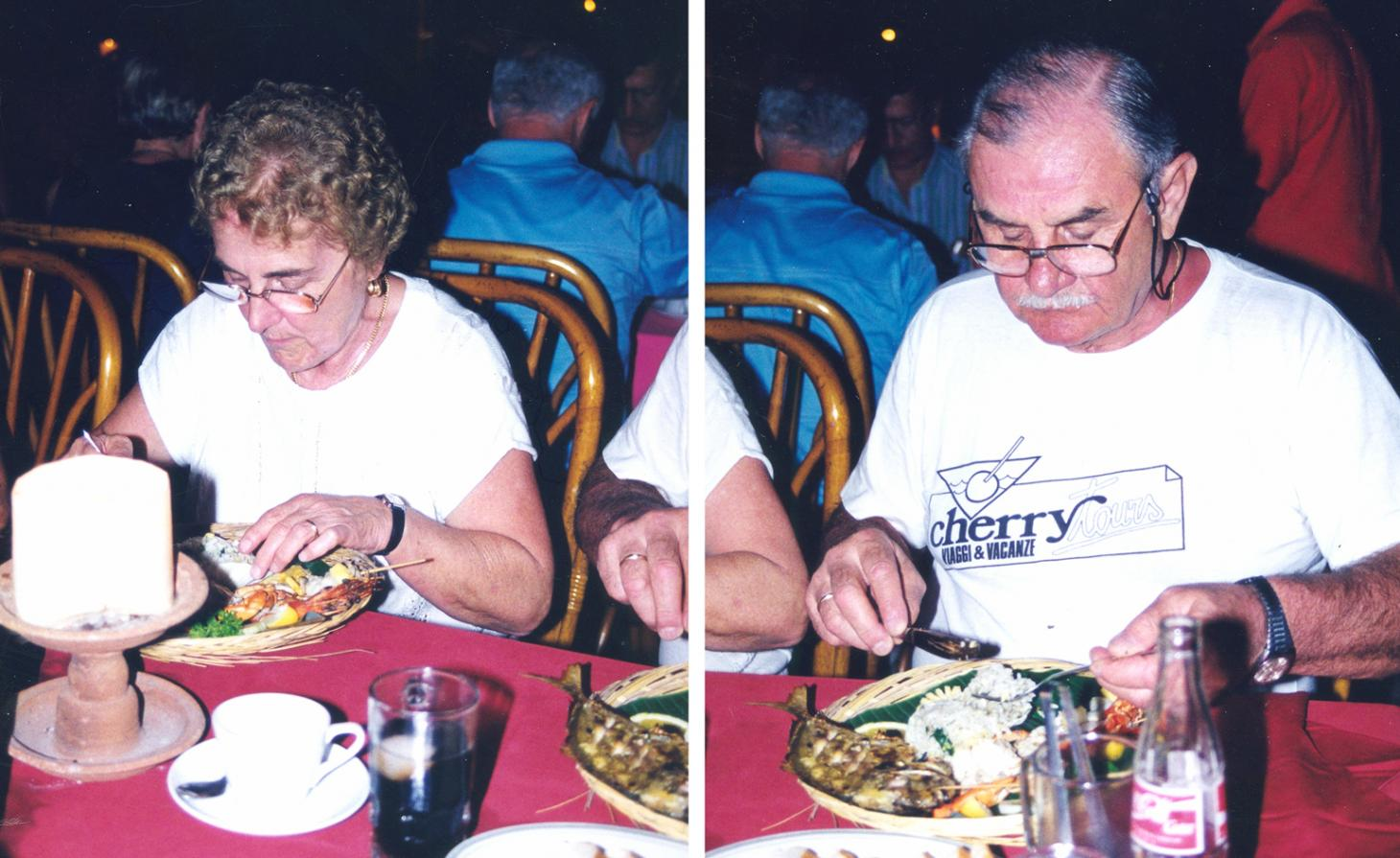 A man and woman pictured separately eating a plate of food in a book by Erik Kessels