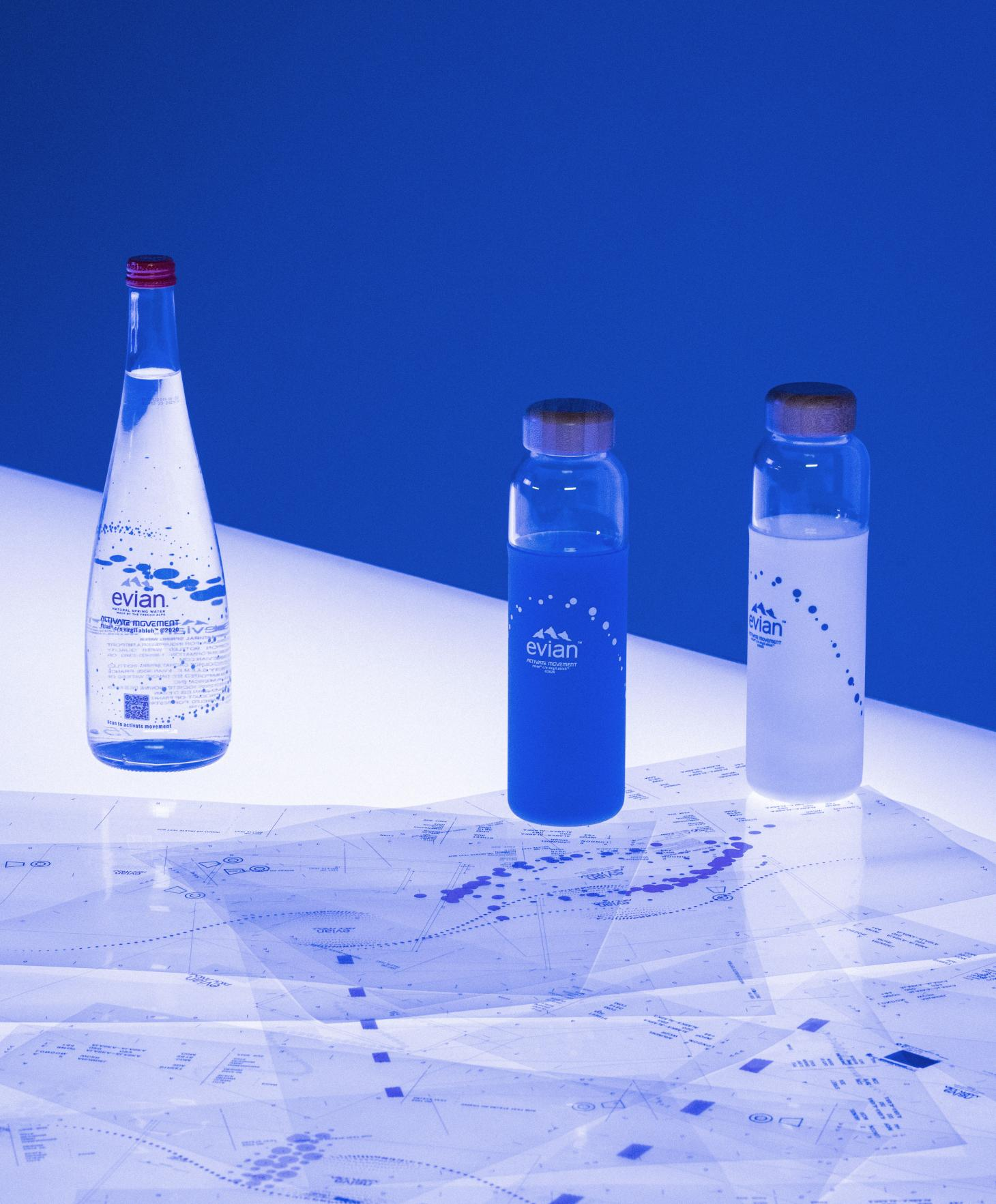 Evian Activate Movement campaign bottles and design