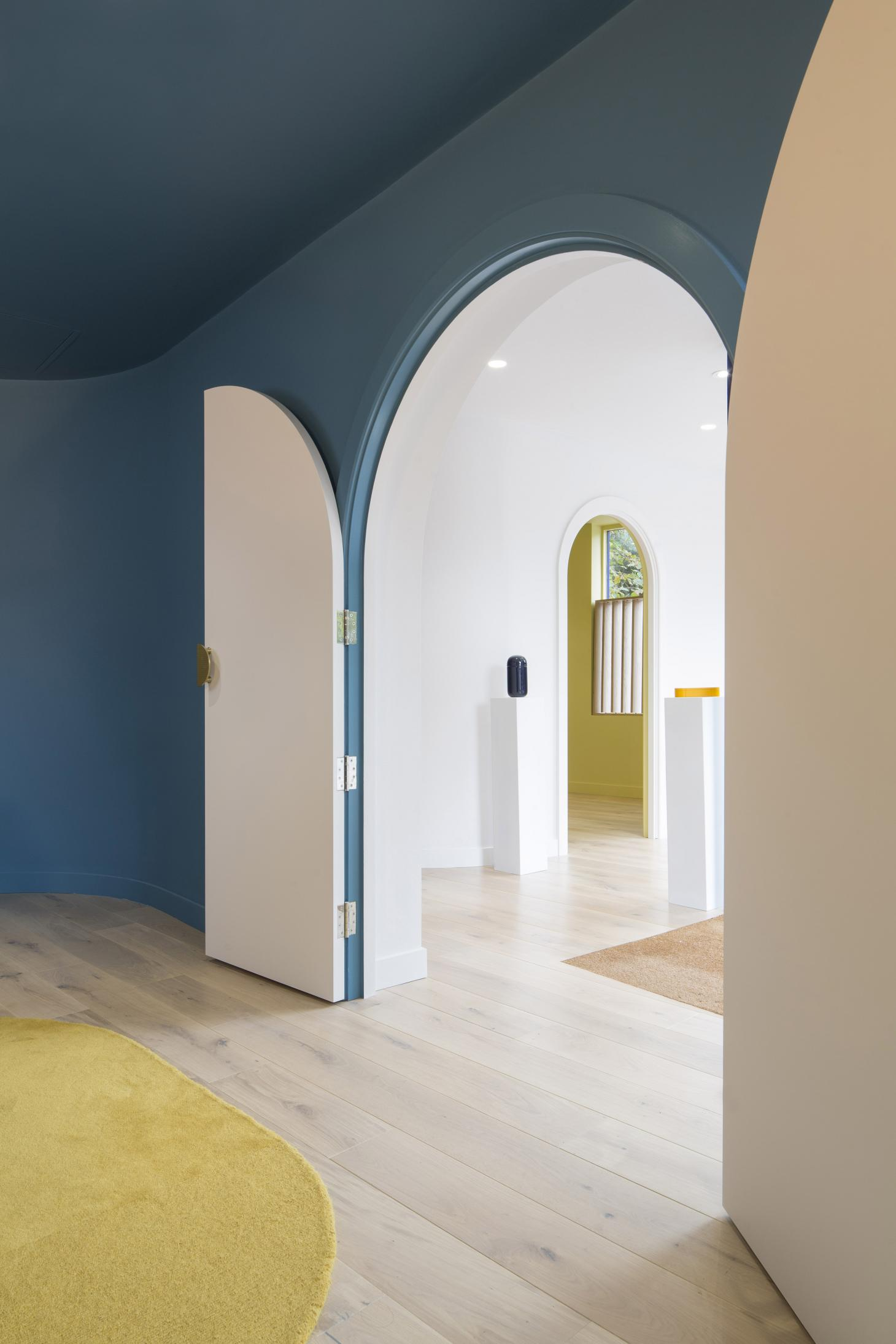 Interior view of 'Exit Here' funeral parlour