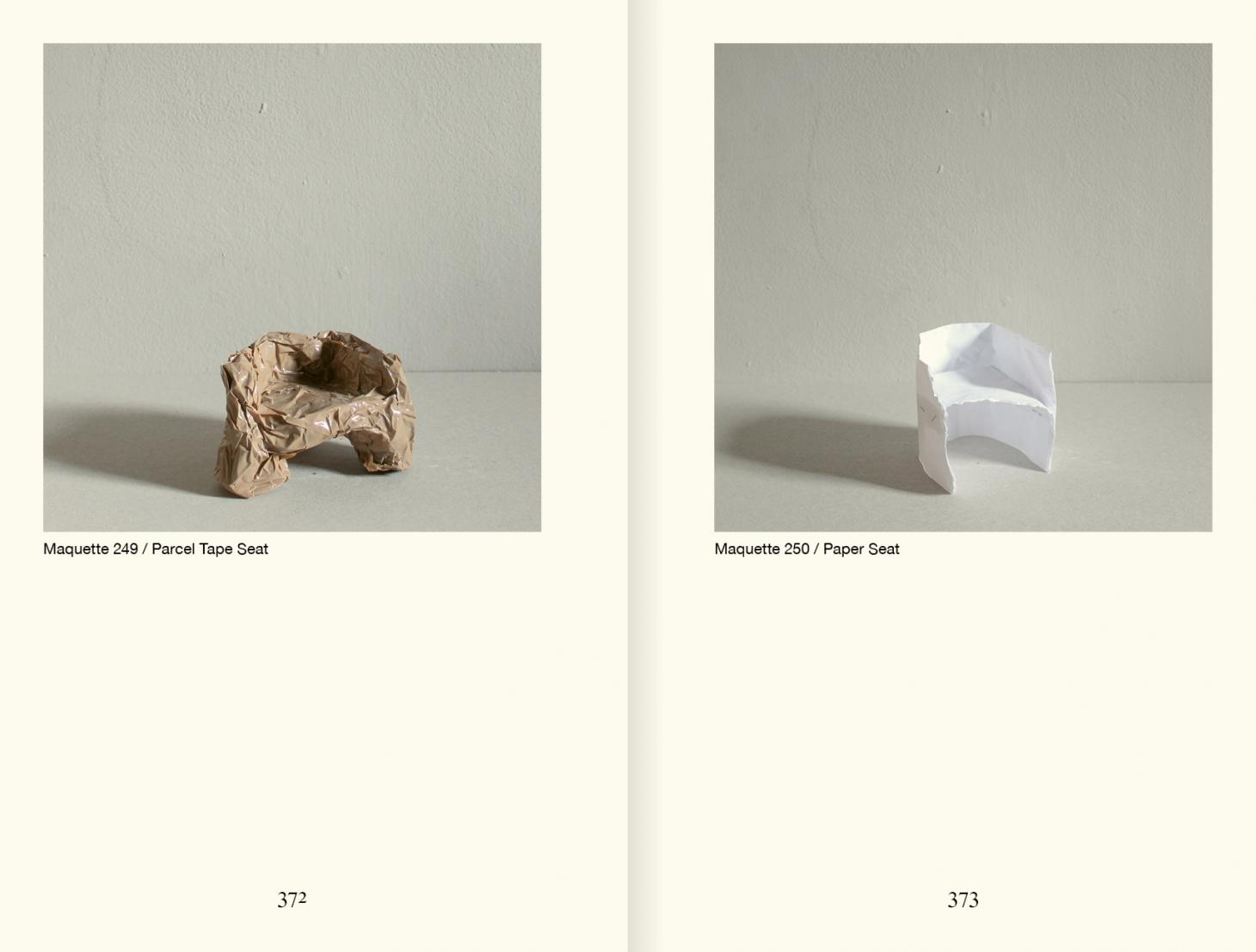 Maquettes of chairs in tape and paper on a spread from the book by Faye Toogood