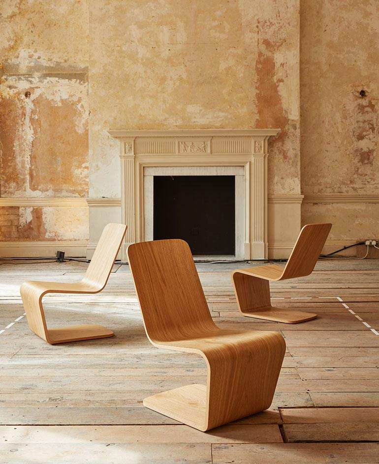 Cantilevered wooden chairs