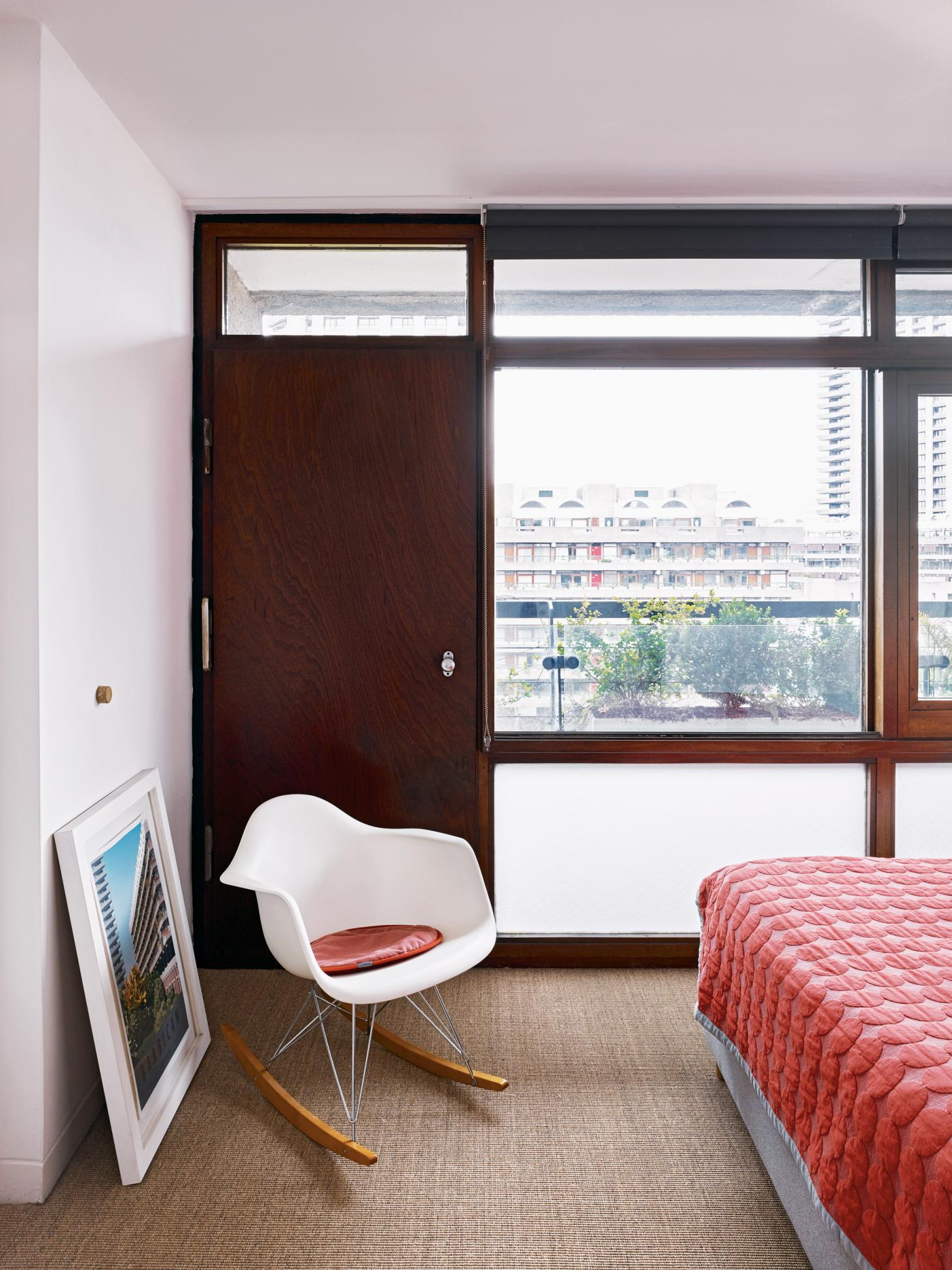 Bedroom interior at the Barbican Estate