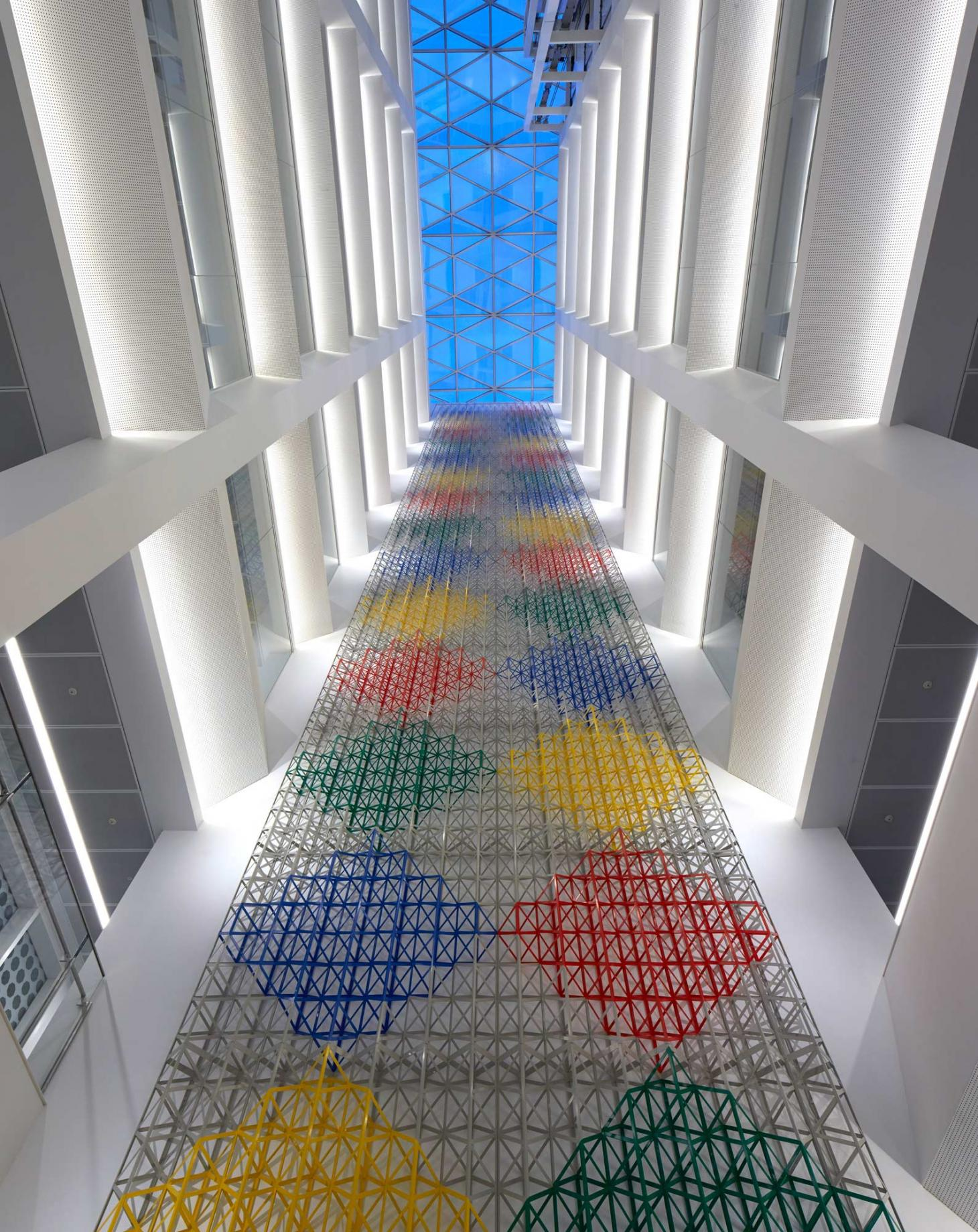 "Atrium artwork ""Rhapsody in Four Colours"" by artist, Rasheed Araeen, at the Aga Khan Centre, King's Cross"