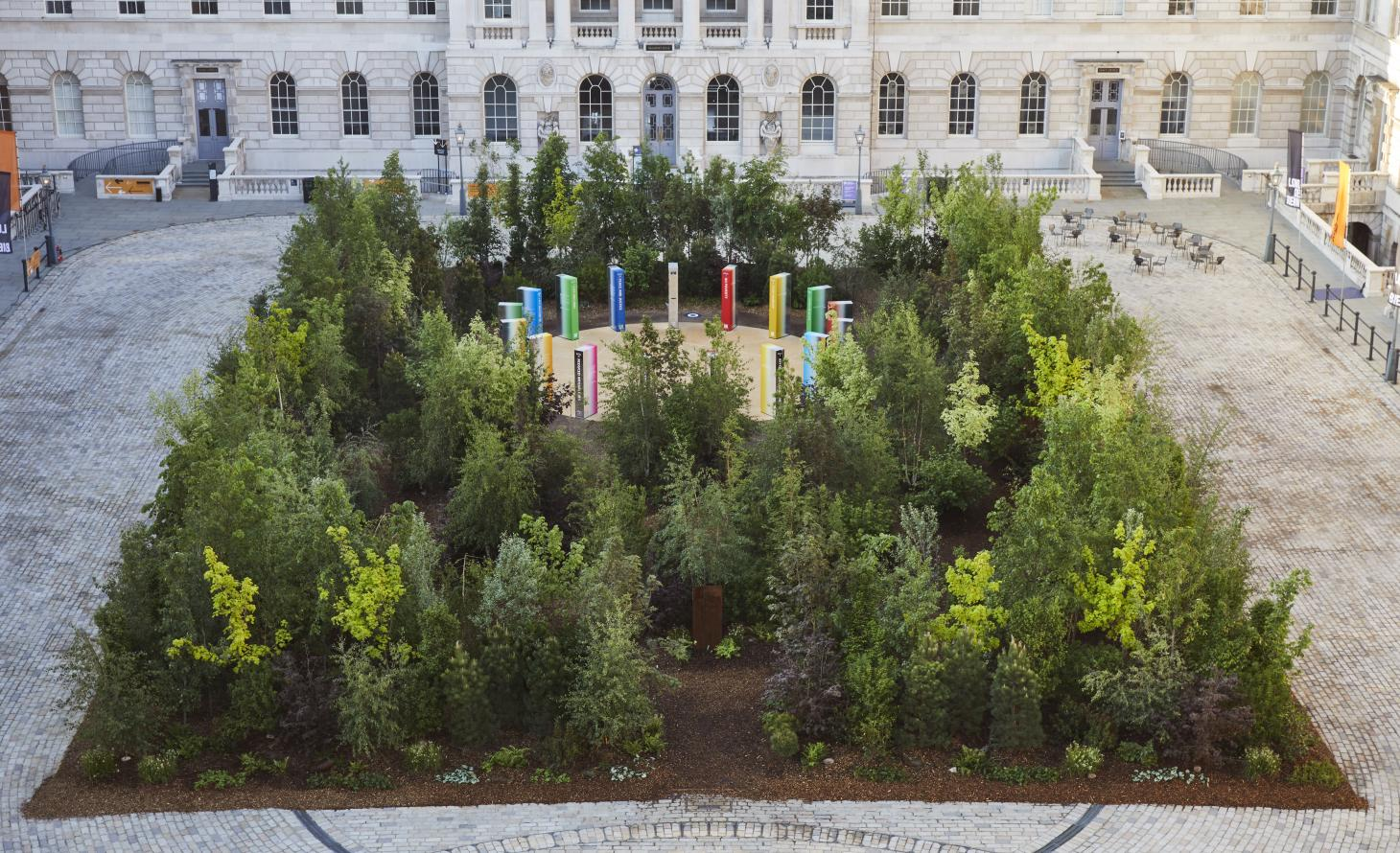 Forest installation by Es Devlin with Somerset House architecture in the backdrop