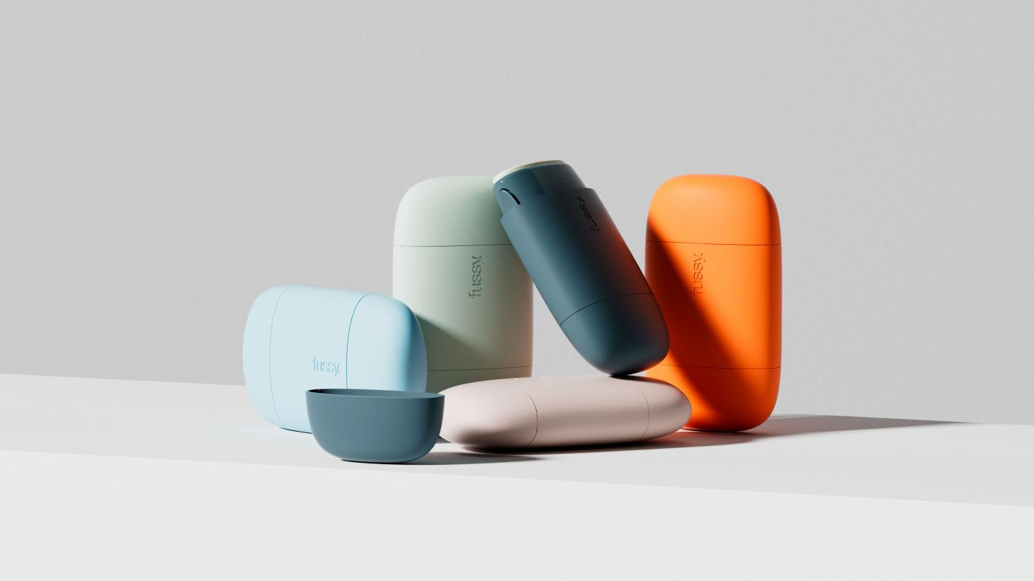 fussy pebble-like sustainable deodorant cases in five different colours