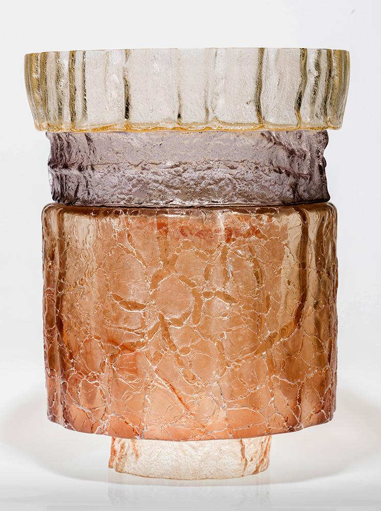 Contemporary craft textured glass piece by Ed byrne