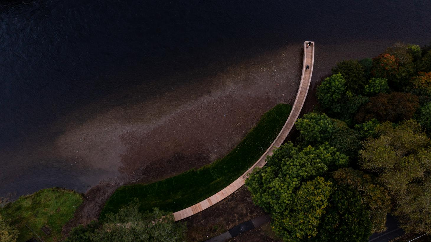 aerial of installation that doubles as a pier in Inverness