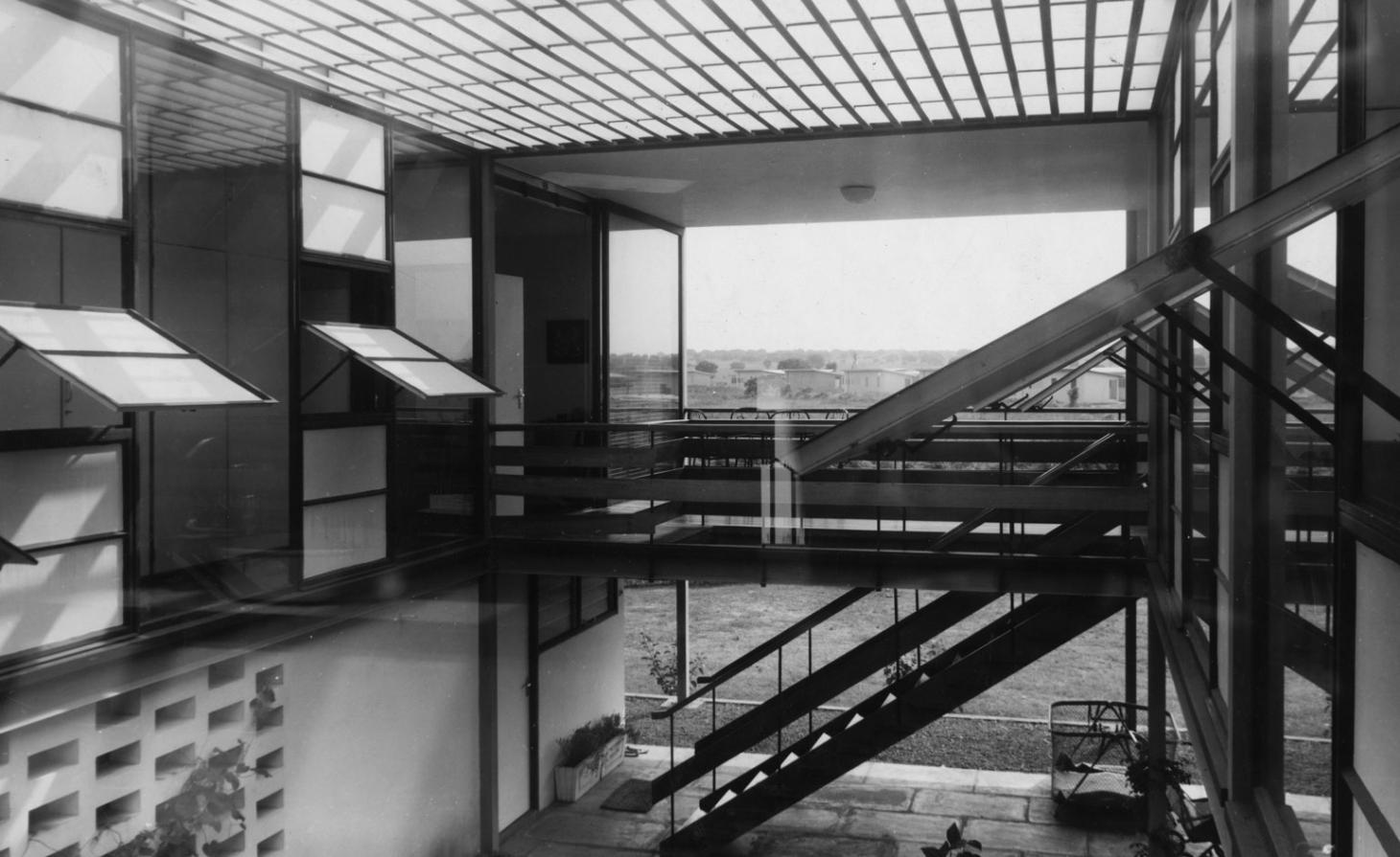black and white building with stairs from civic architecture n Ghana