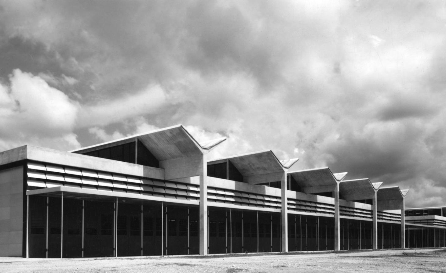 Building in Ghana in black and white against the sky