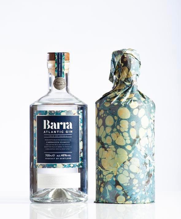Barra Atlantic seaweed flavoured gin in glass bottle with blue label