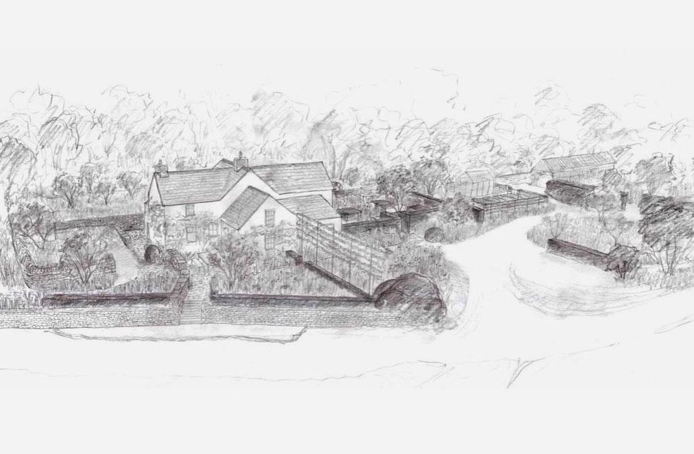 A pencil sketch of a house and garden by the Rich Brothers in Wales, UK