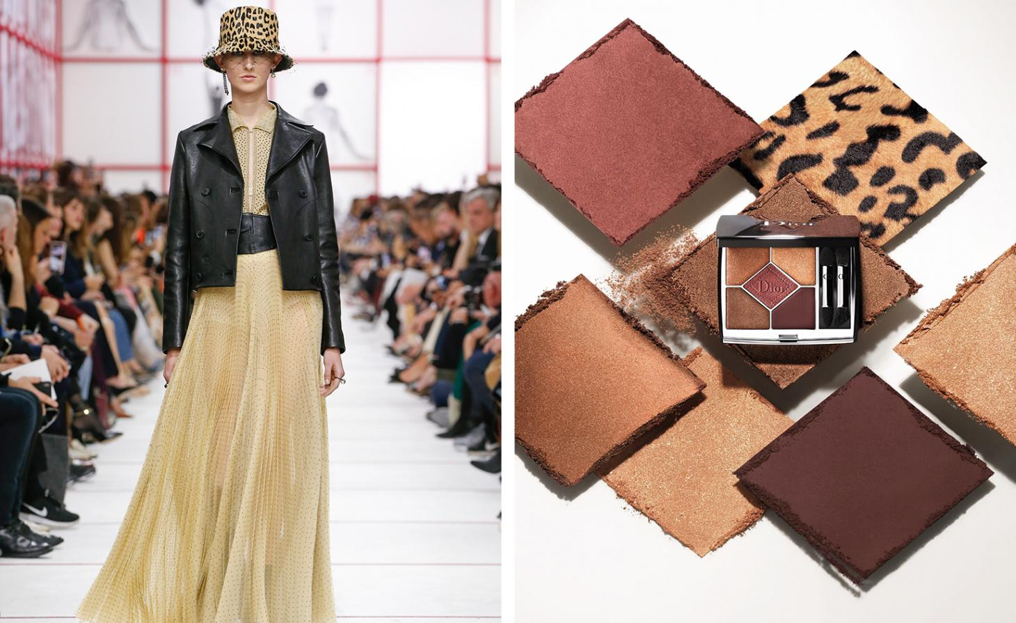 Dior 689 Mitzah Couleurs Couture Palette next to Dior AW19 womenswear