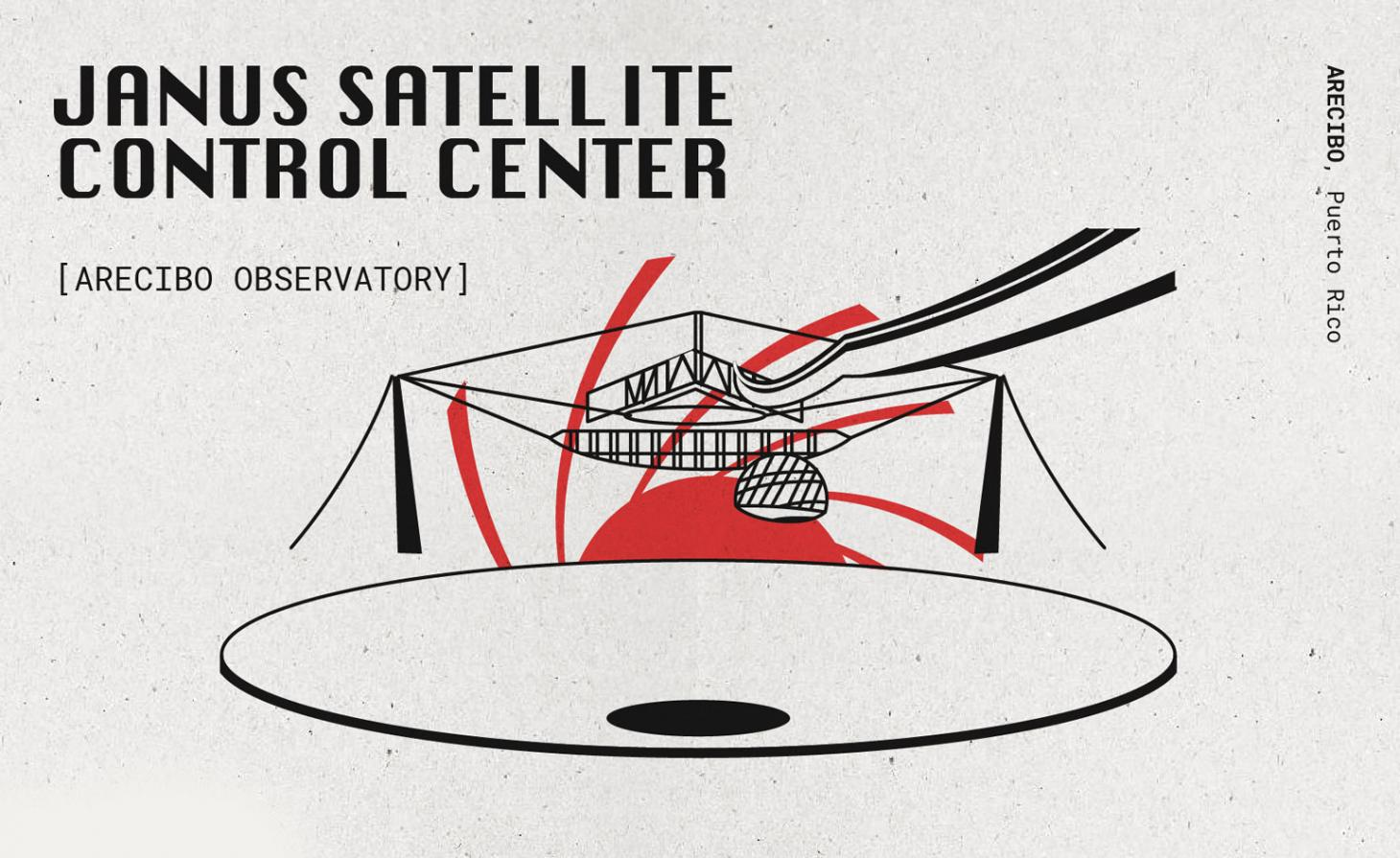 black and red drawing of satellite centre from the golden eye Bond movie