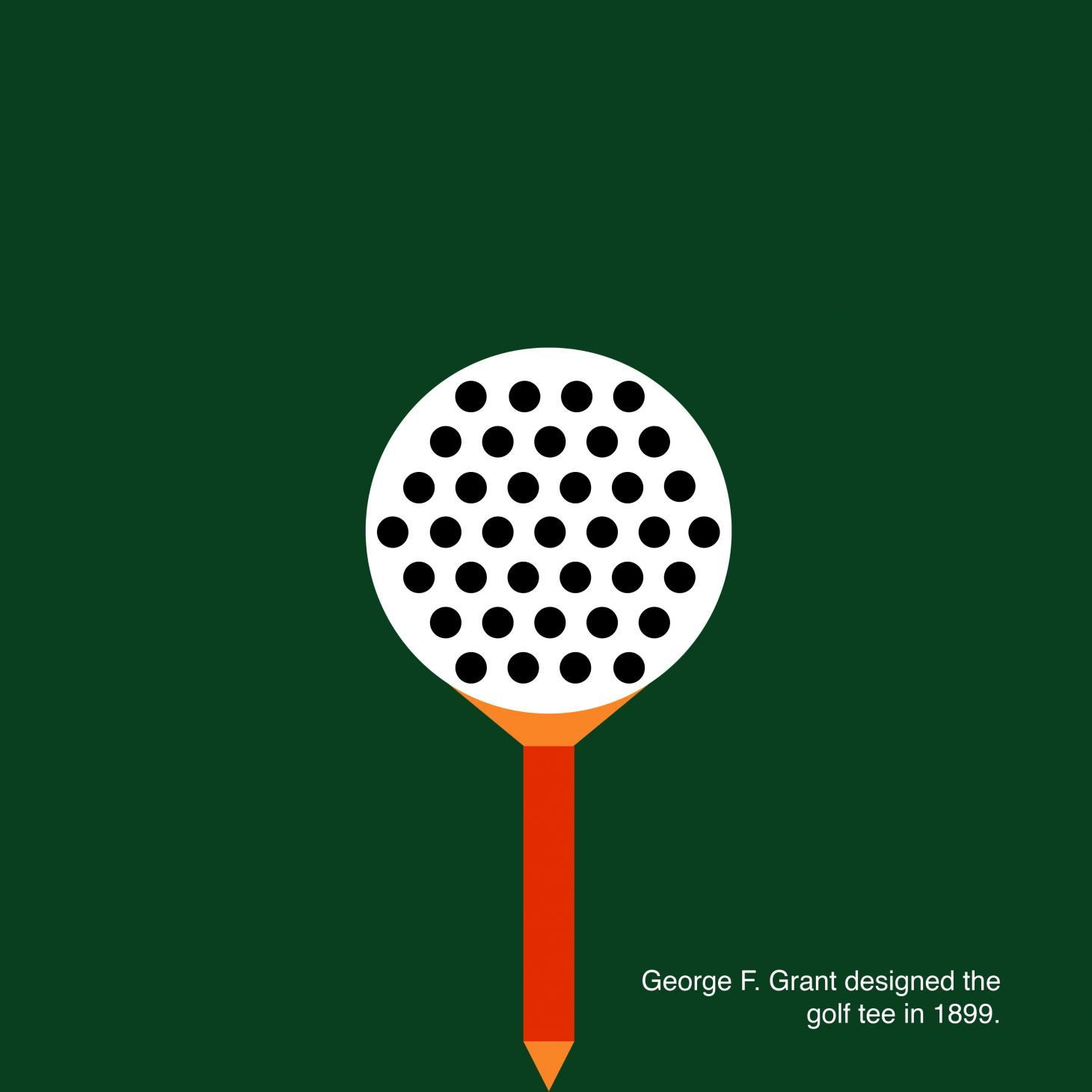 A graphic with a green background and stylized illustration of a golf tee and ball, with text explaining that the gold tee was originally conceived by George F. Grant in 1899