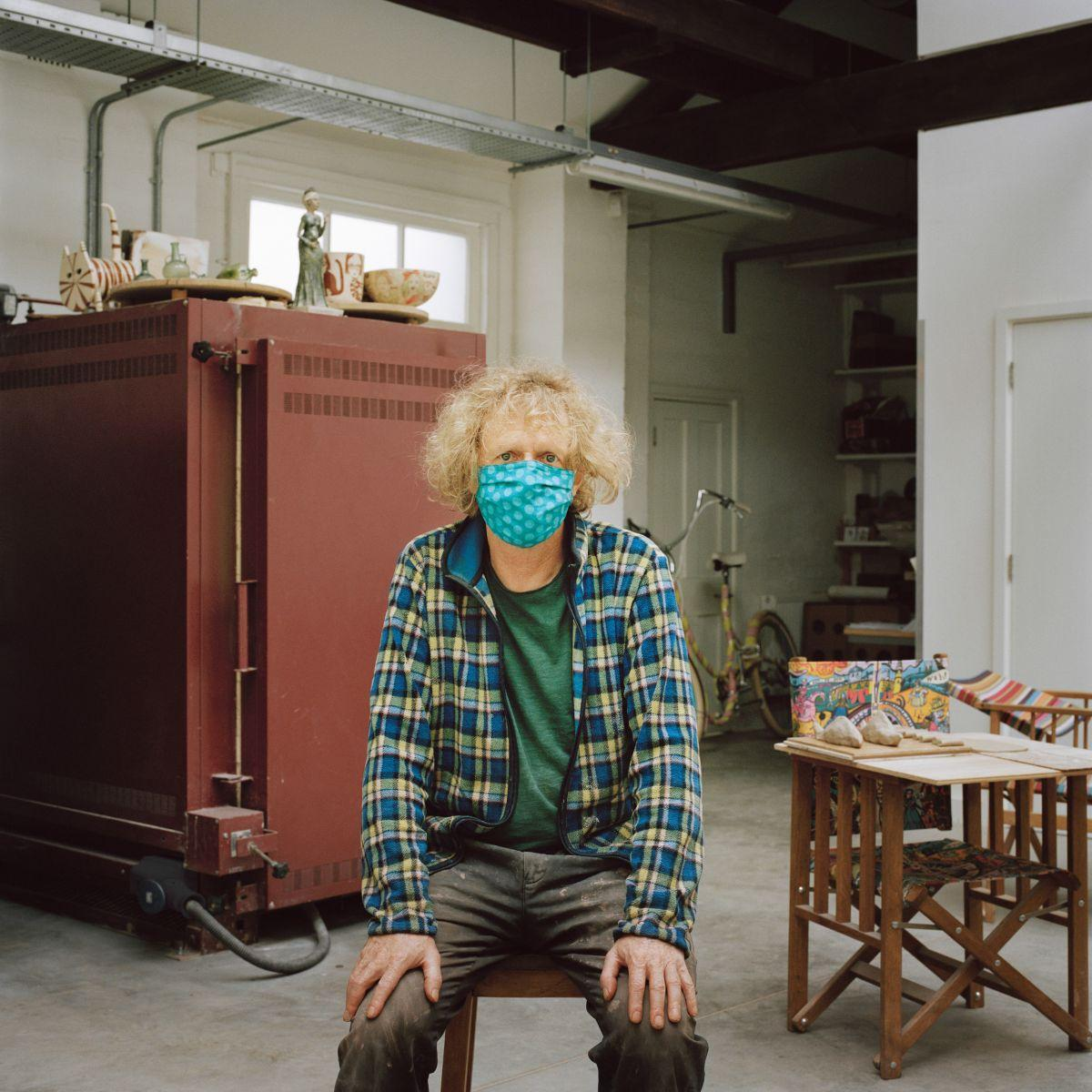 Portait image of Grayson Perry wearing a mask shot for Joanna Vestey's Masked portrait series