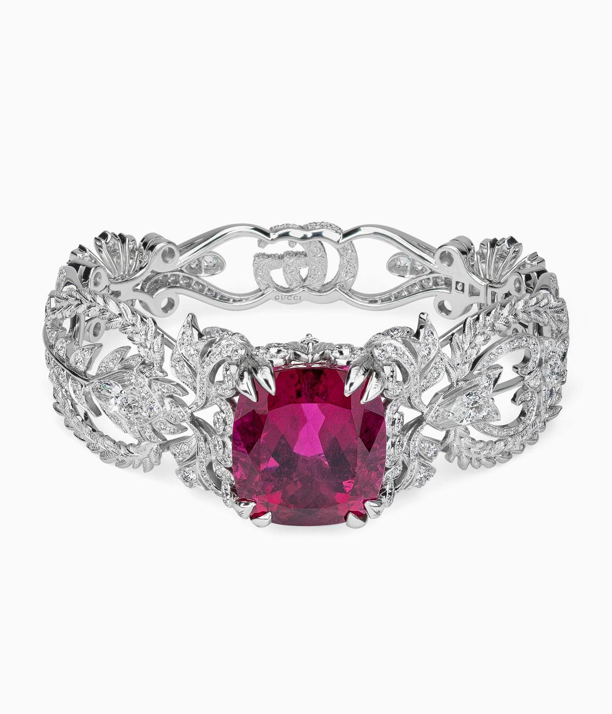 Gucci high jewellery diamond bracelet with large pink stones in the centre