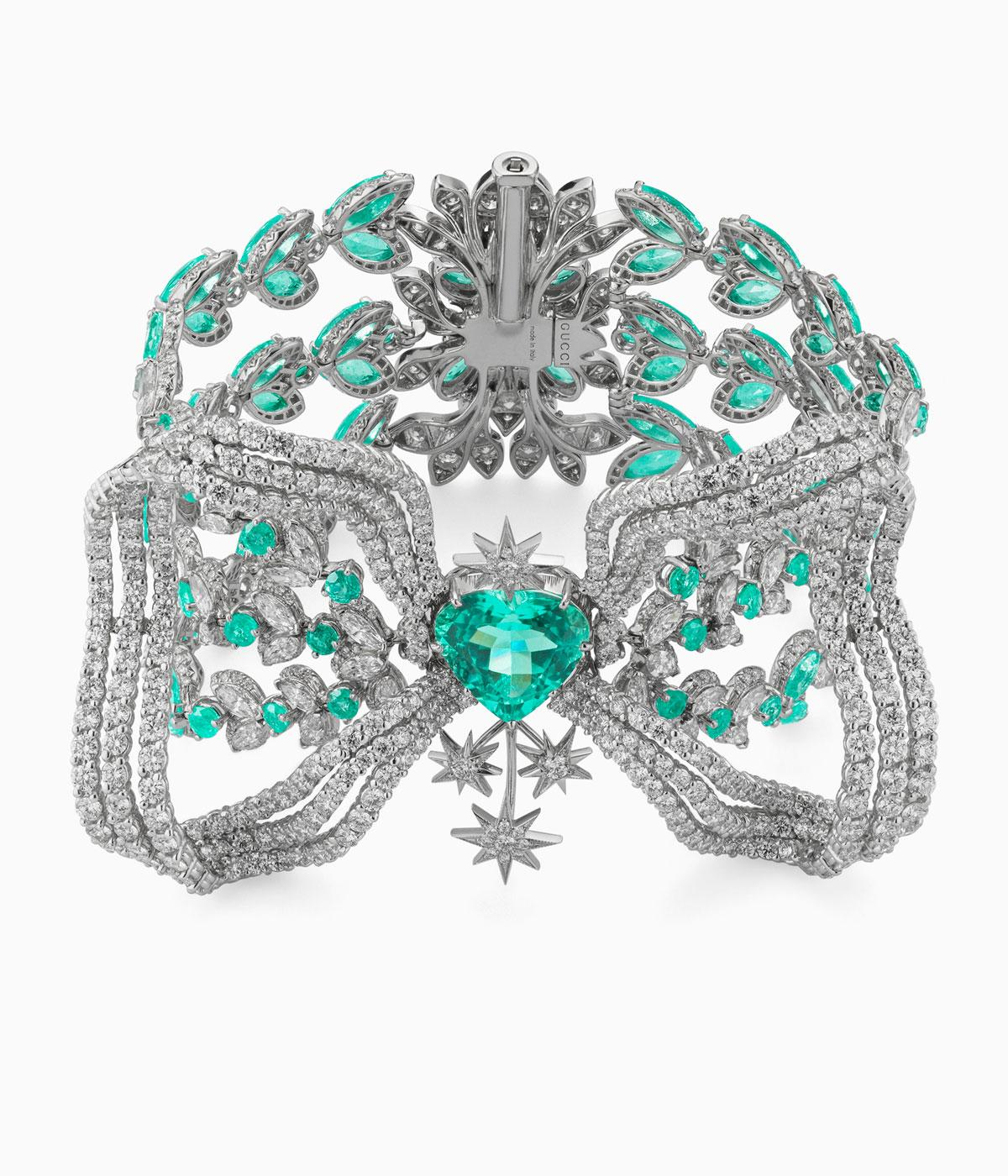 Gucci high jewellery diamond necklace with pale blue stones