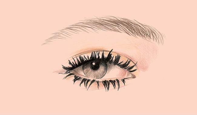 illustrated eye on a pink background
