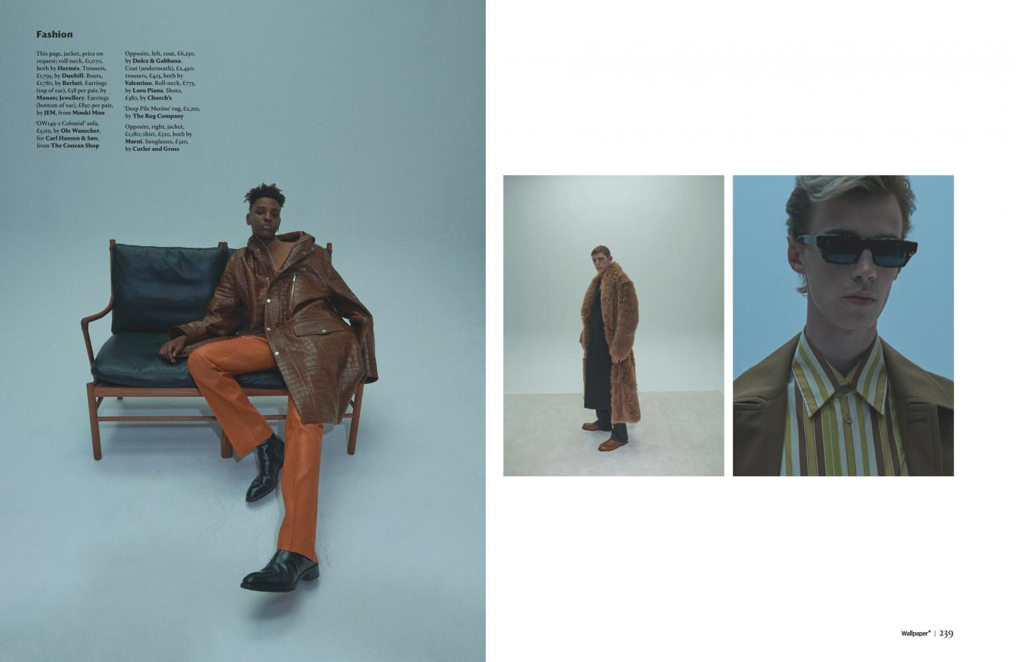 Jibriil Ollow in brown leather coat by Sofie Middernacht and Maarten Alexander