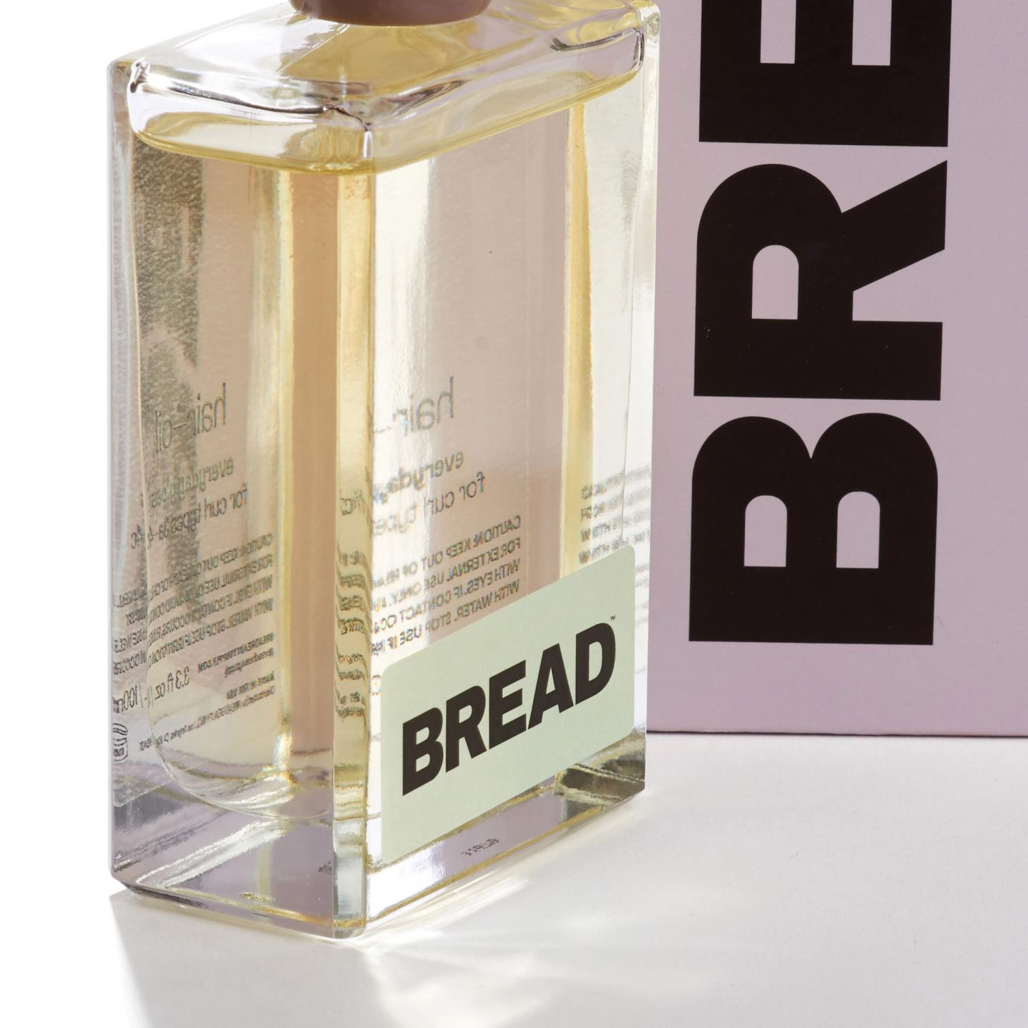 bread hair care in glass bottle with light green label