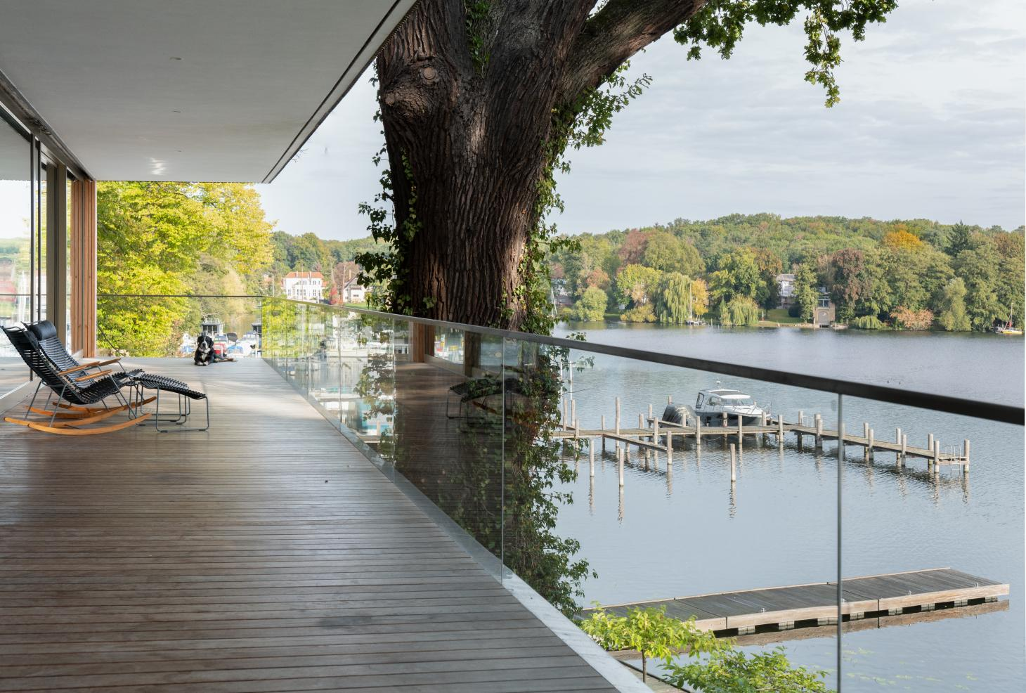 The expansive lakeside terrace at Carlos Zwick's new family house on Lake Jungfernsee