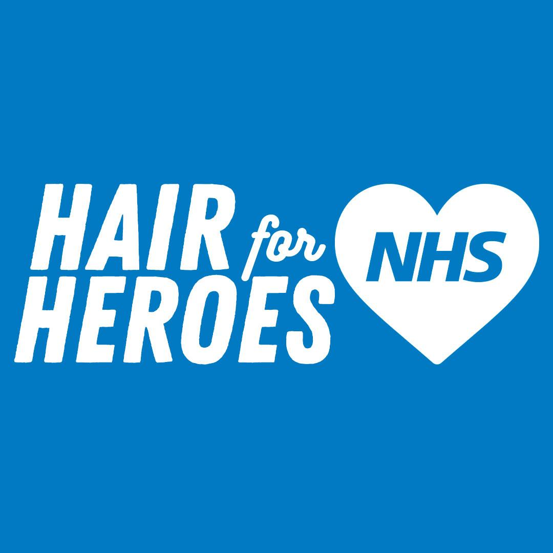 hershesons hair for heroes graphic campaign image in blue and white