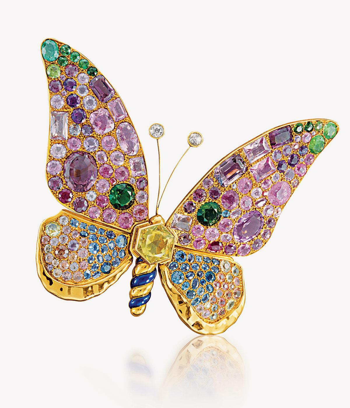 Butterfly dotted with precious gems