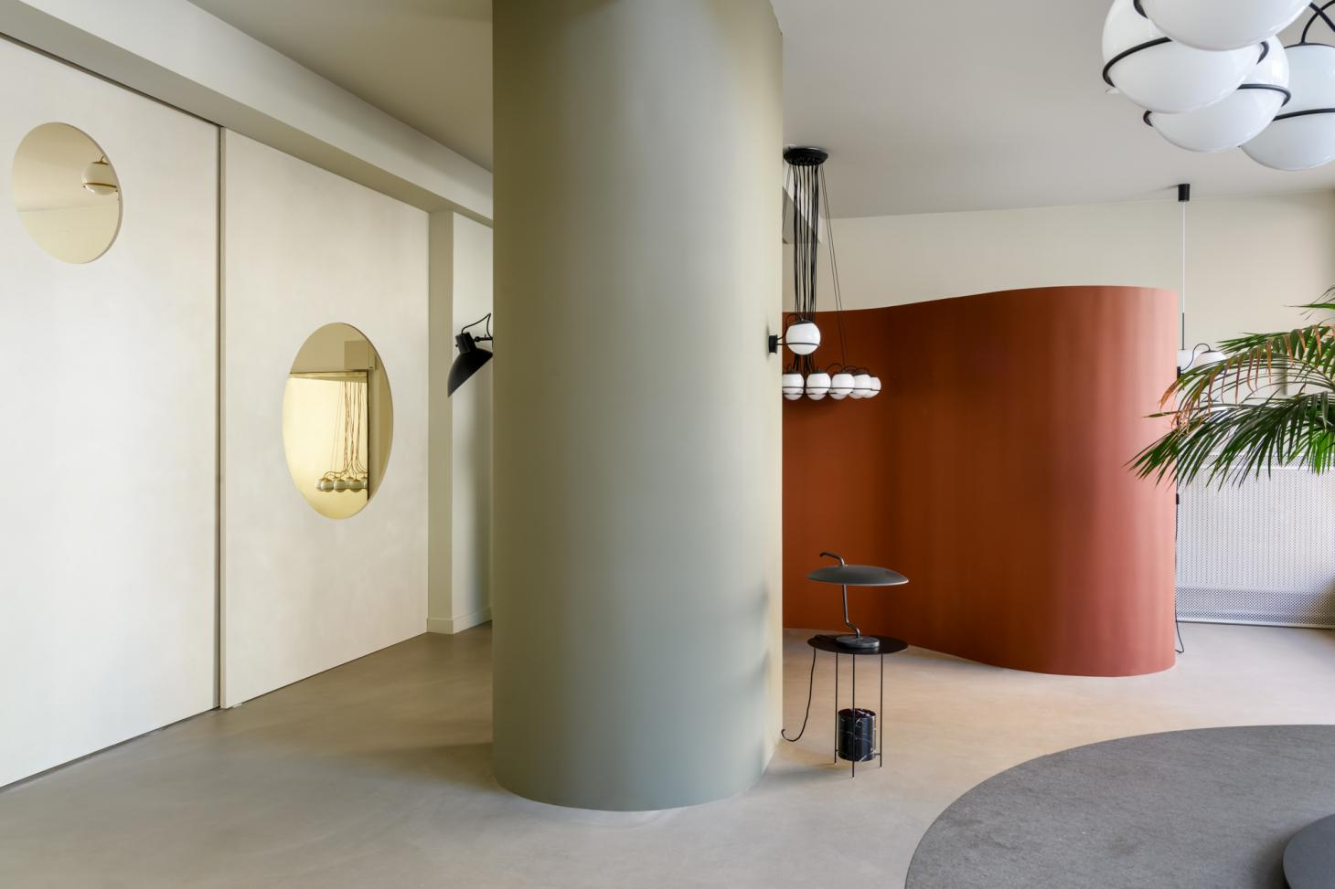 Astep store interior with dark red room divider