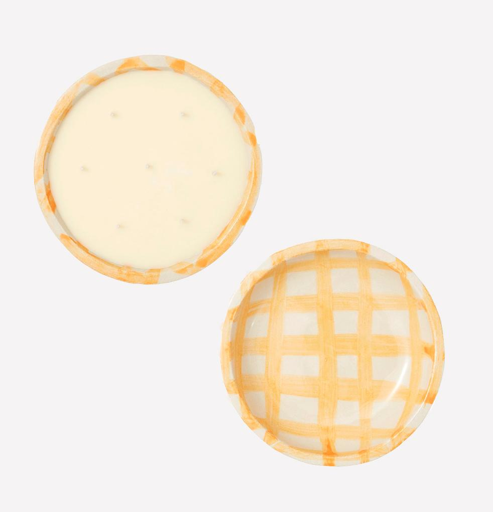 evermore candles in gingham ceramic bowls by kana london