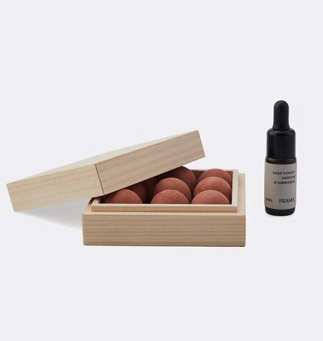 korean red soil balls in pinewood box with deep forest oil by Frama
