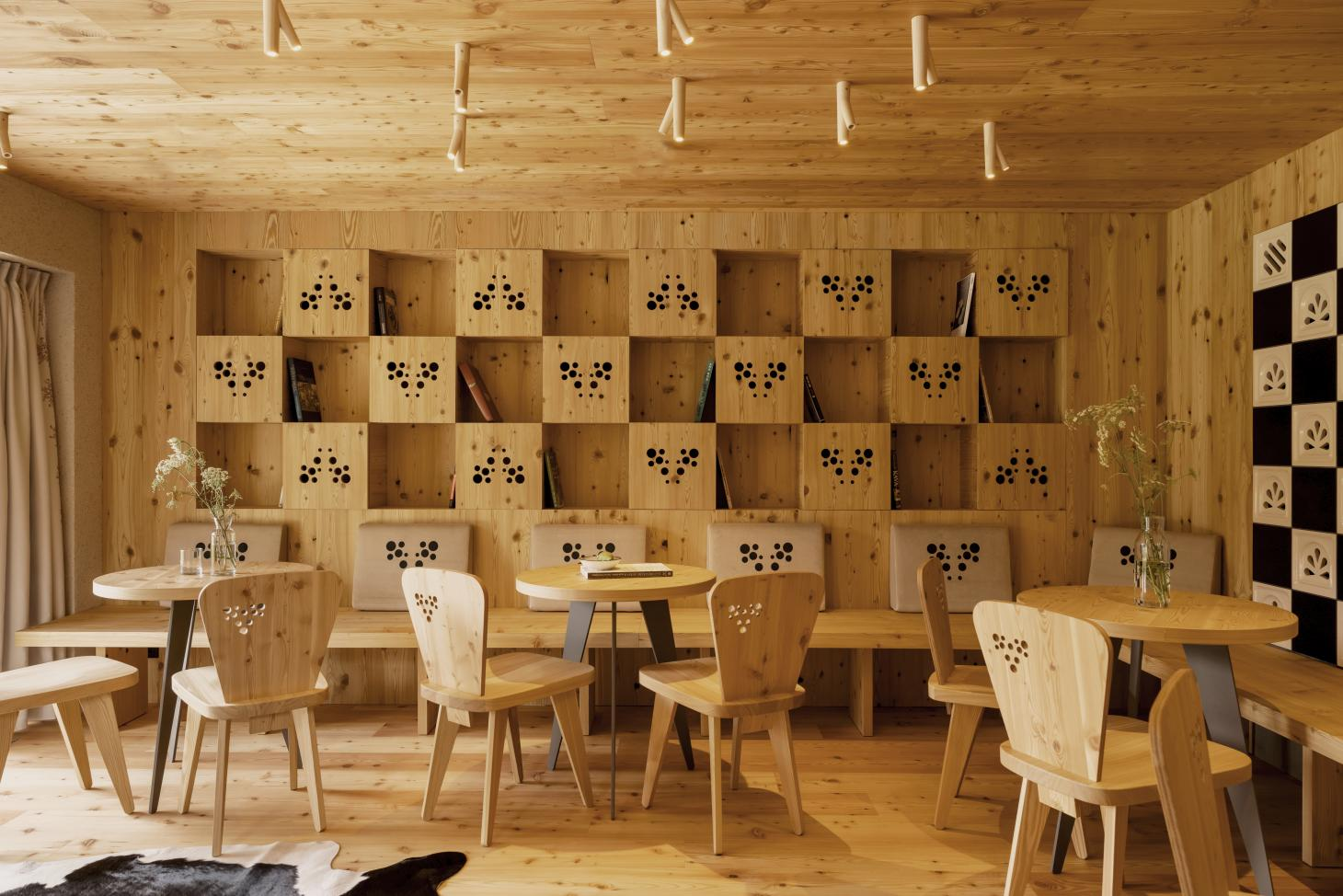all timber new cafe and restaurant in hotel in Slovenia by OFIS architects