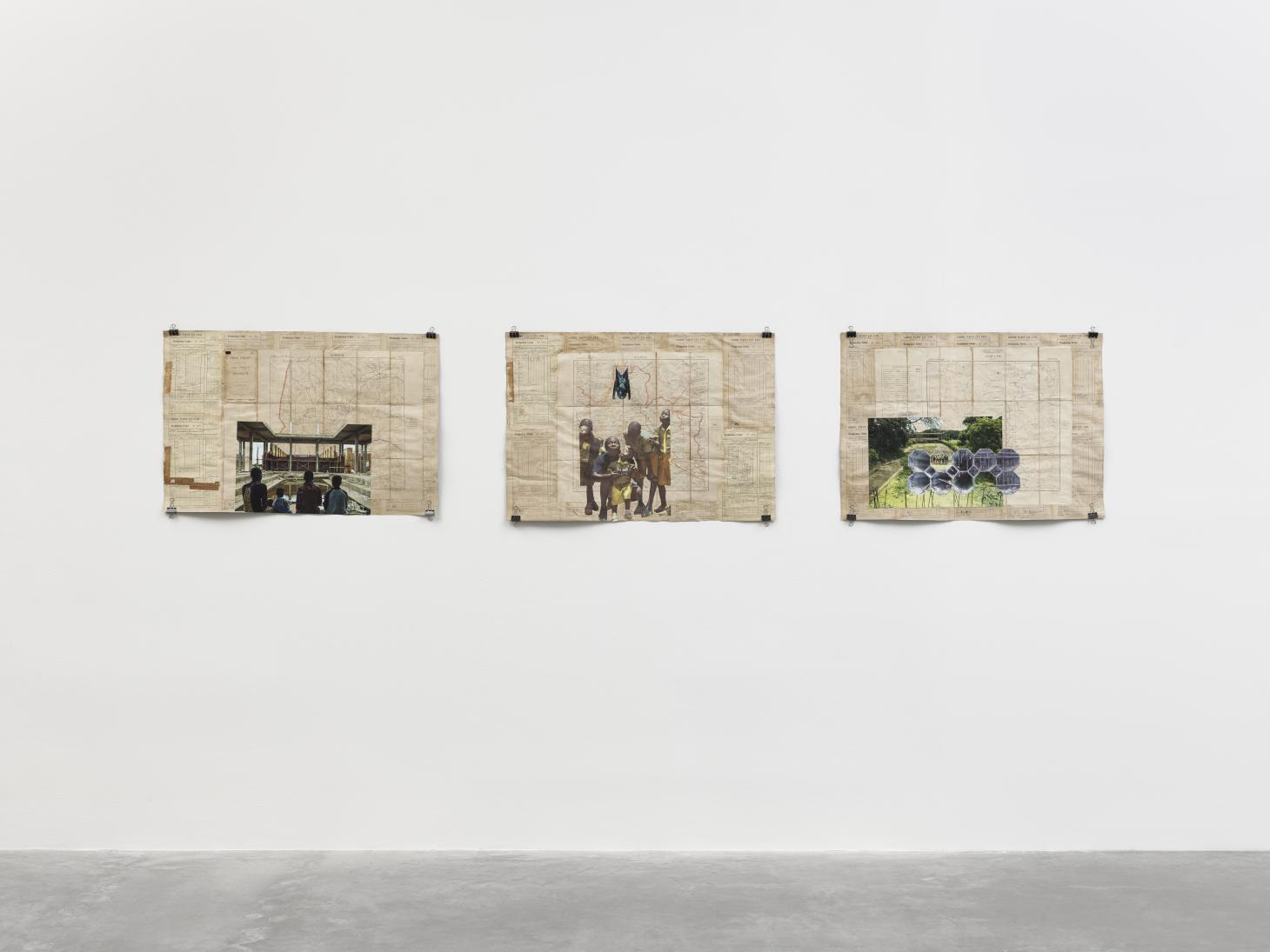 Three collaged artworks on white wall at White Cube gallery, exhibition by Ibrahim Mahama