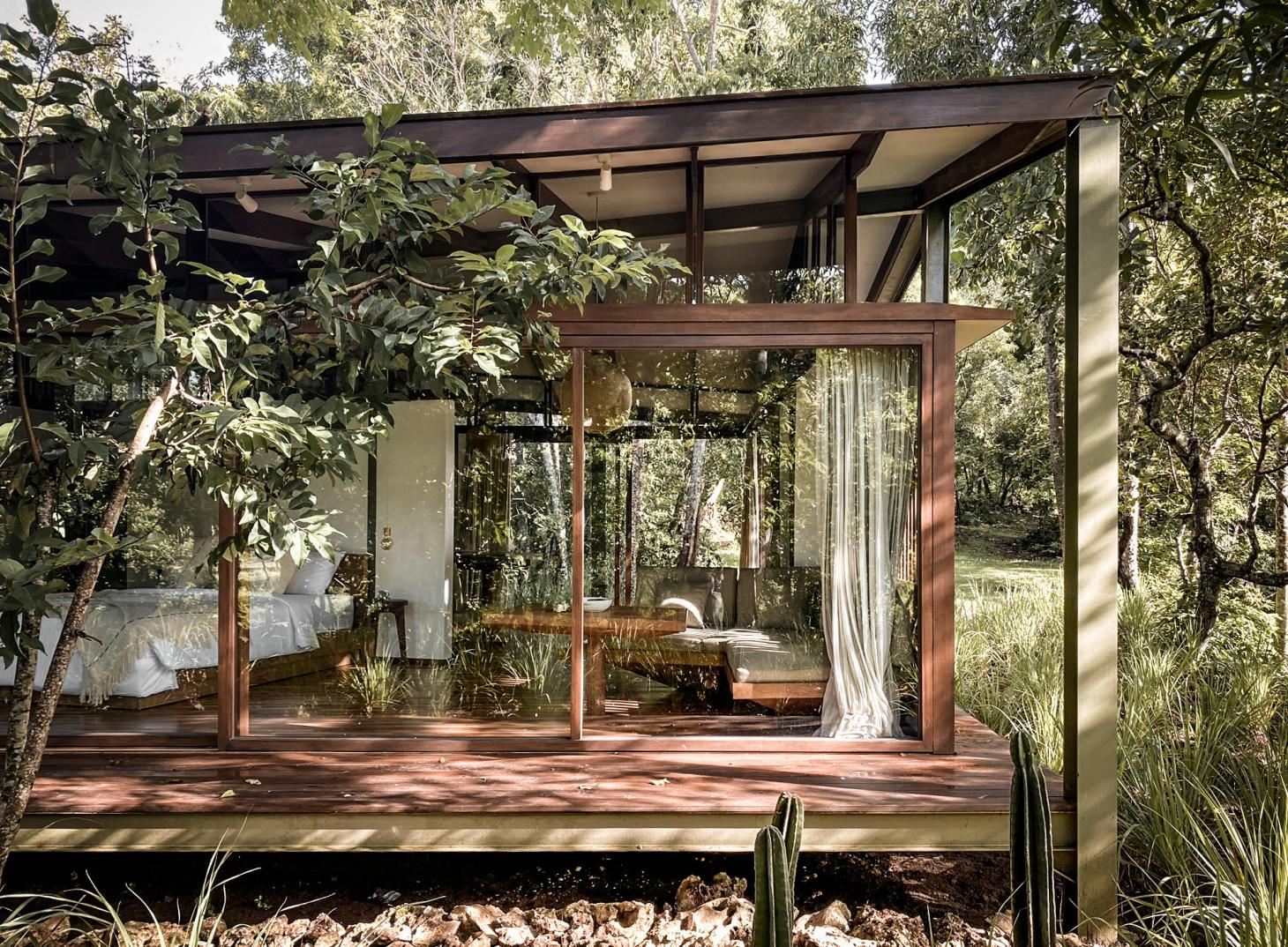 Alexis dornier's tetra pod cabin sits in the Indonesian woods