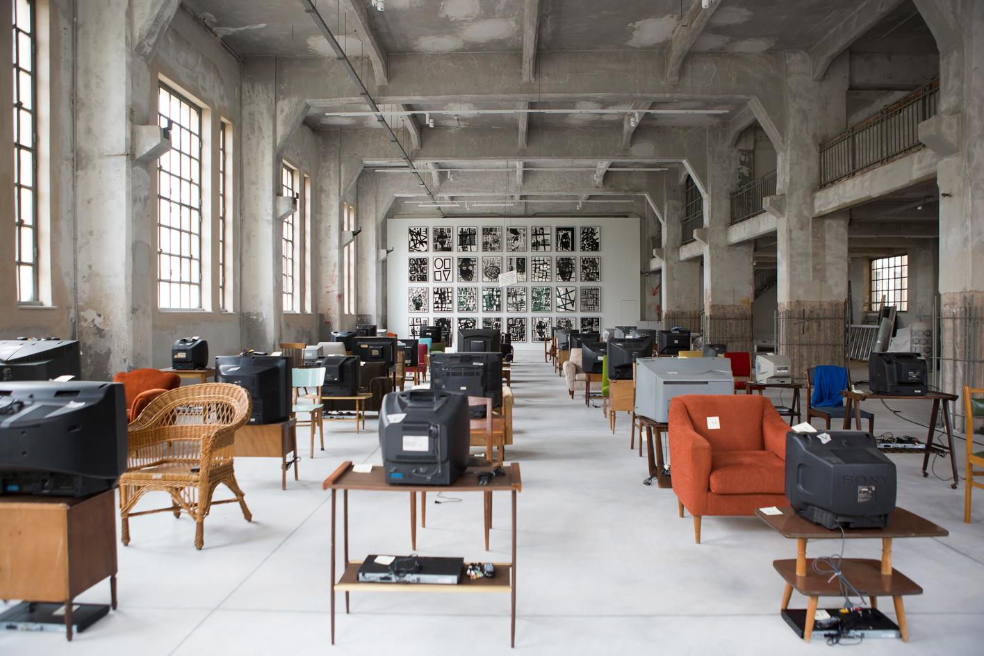Kutluğ Ataman (b. 1961, Istanbul, Turkey) Küba, 2004 40 channel video installation with sound, 40 used chairs, 40 tables, 40 television sets Dimensions variable D.Daskalopoulos Collection & Adam Pendleton (b. 1984, Richmond, Virginia, USA) Our Ideas #2, 2