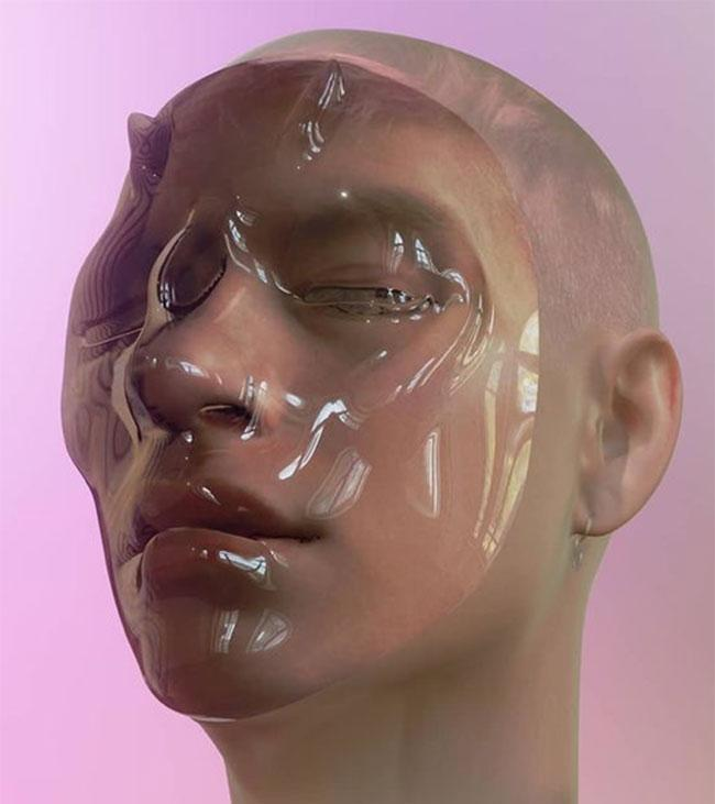 alpha skin instagram filter showing digital face covered in gloss-like mask against pink background