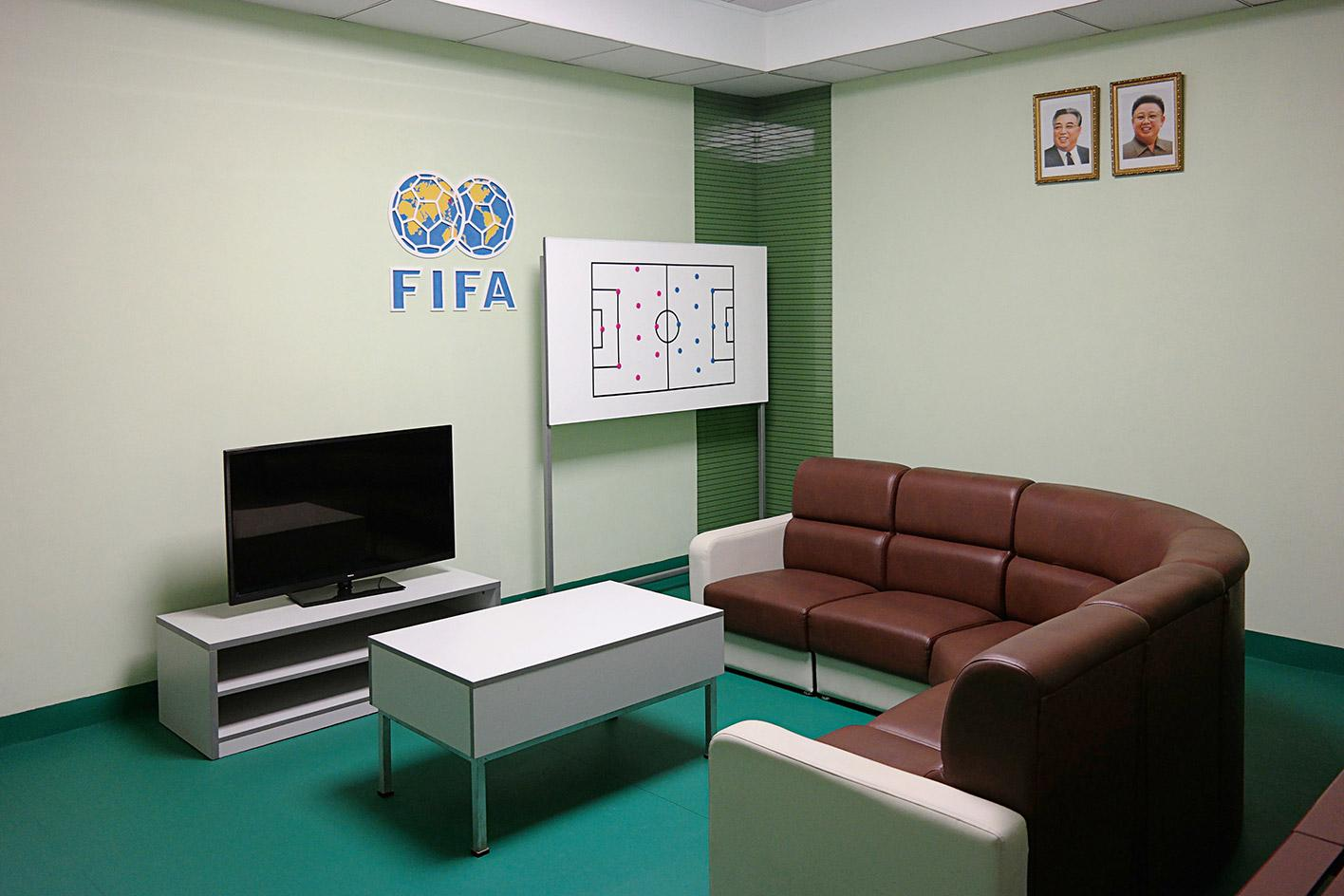 The recently renovated support rooms of the Rungrado May Day Stadium