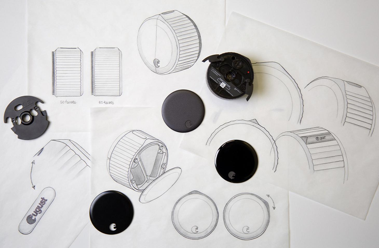 Sketches and prototypes by Yves Behar, for the keyless August home access system, which includes a smart lock, keypad and doorbell cam