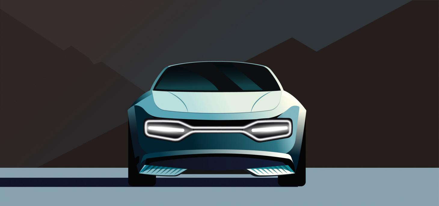 featuring Kia's new 'Digital Tiger Face' and a curving glass roof extending from the windscreen